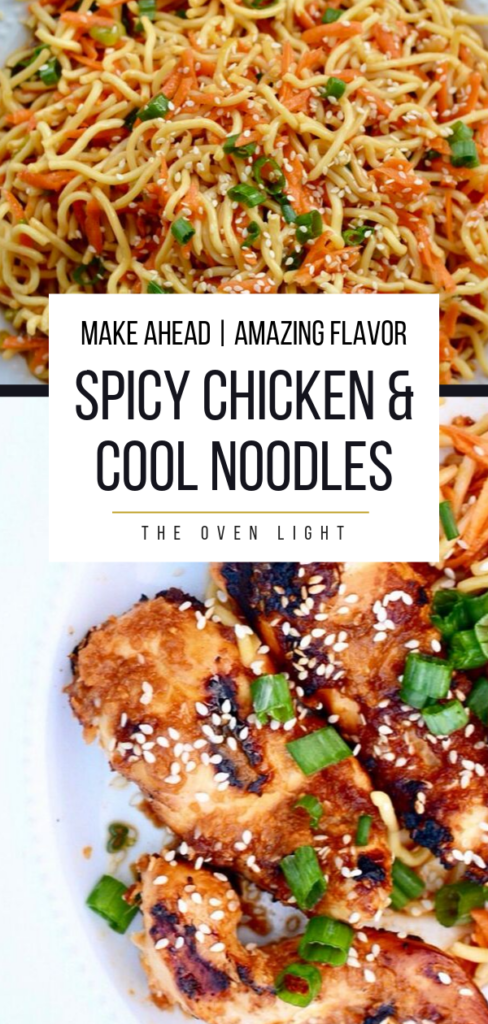 Spicy Chicken and Cool Soba Noodles | Delicious Asian flavor, easy to make ahead. Perfect for a weeknight dinner. #chicken #grill #bbq #noodles #asian #coolnoodles #makeahead