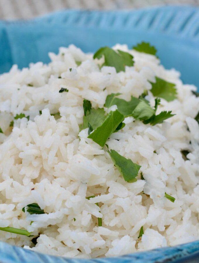 Cilantro Lime Coconut Rice in a Blue Fish Bowl