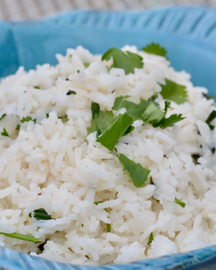 Cilantro Lime Coconut Rice in a Blue Fish Bowl