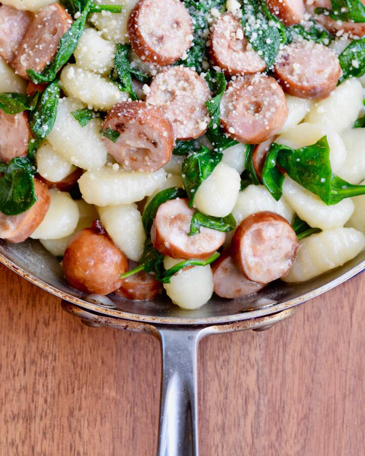 Sausage, spinach and gnocchi skillet meal. Quick and delicious!
