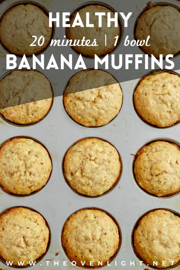 Healthy Everyday Banana Muffins with no refined sugar - moist, delicious and comes together in one bowl!