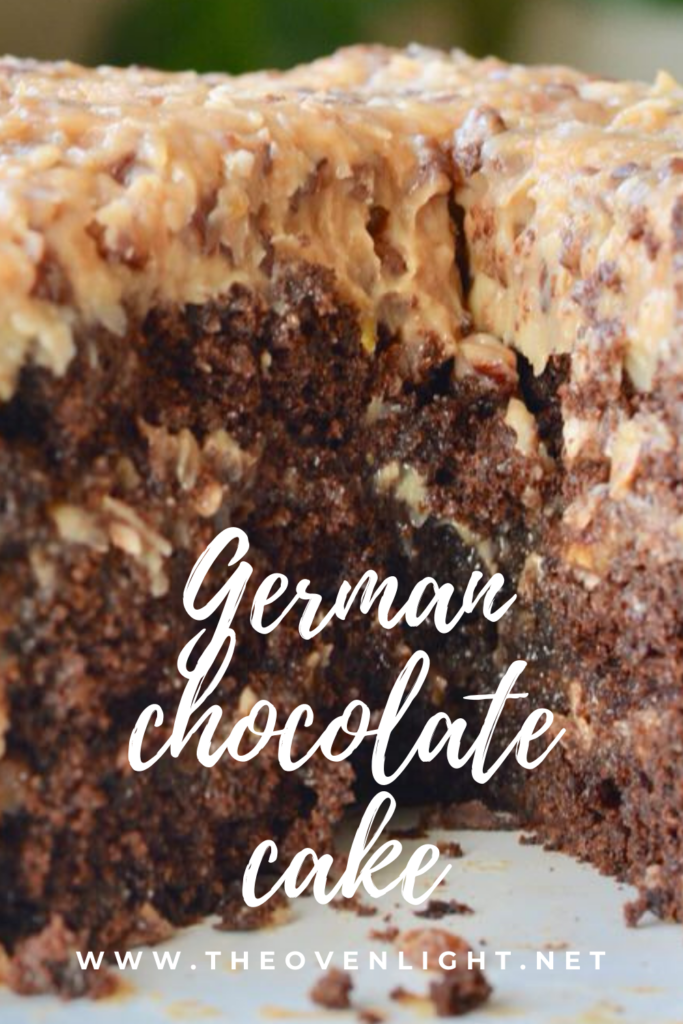 Perfectly dense German Chocolate Cake. Made with chocolate chips, plenty of coconut and pecans. Perfect for a birthday or any celebration! #germanchocolate #cake #chocolate