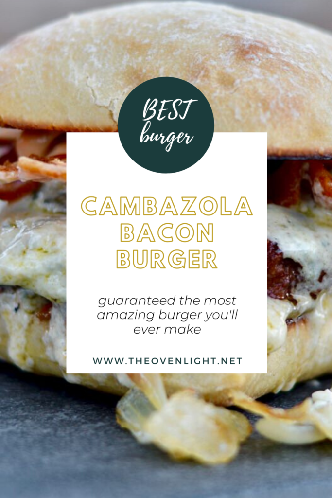 Amazing Burger with bacon, caramelized onions and cambazola cheese on ciabatta buns. The BEST burger EVER!