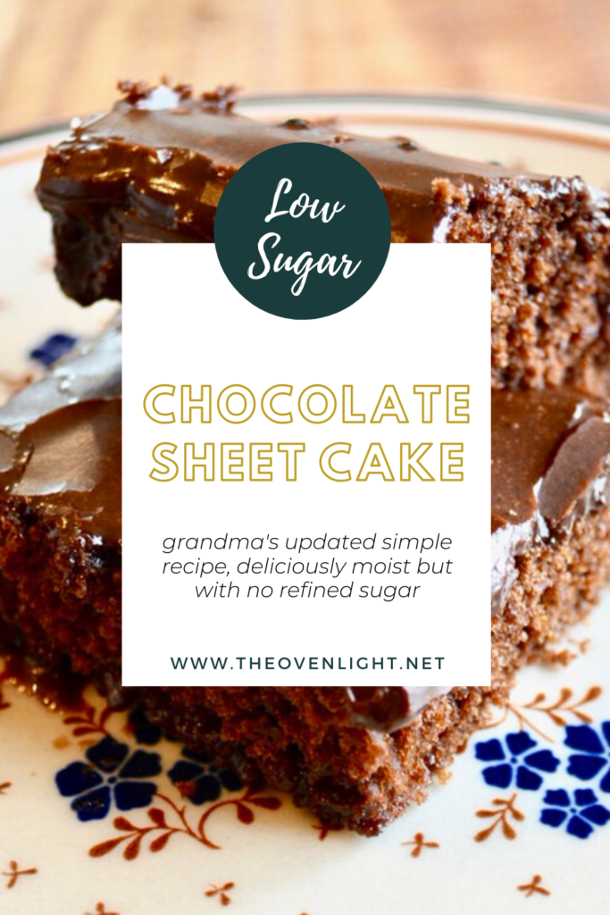 Chocolate Sheet Cake | Classically delicious recipe with low (or no) sugar! Deliciously moist and always a crowd pleaser!