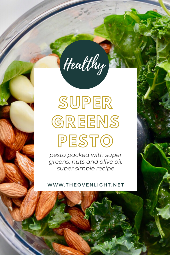 Super greens pesto made with kale, basil and almonds. So packed with nutrients! Plus, you and your kids will love it!