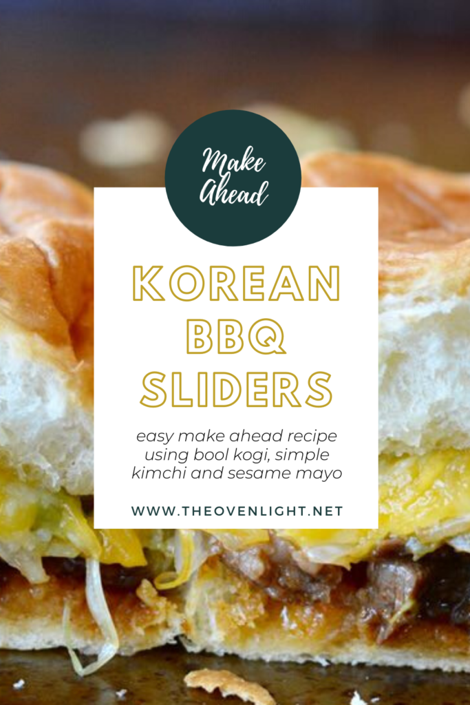 Korean BBQ Sliders with simple kimchi and sesame mayonnaise. Made perfect on Hawaiian rolls. Trader Joe's recipe.