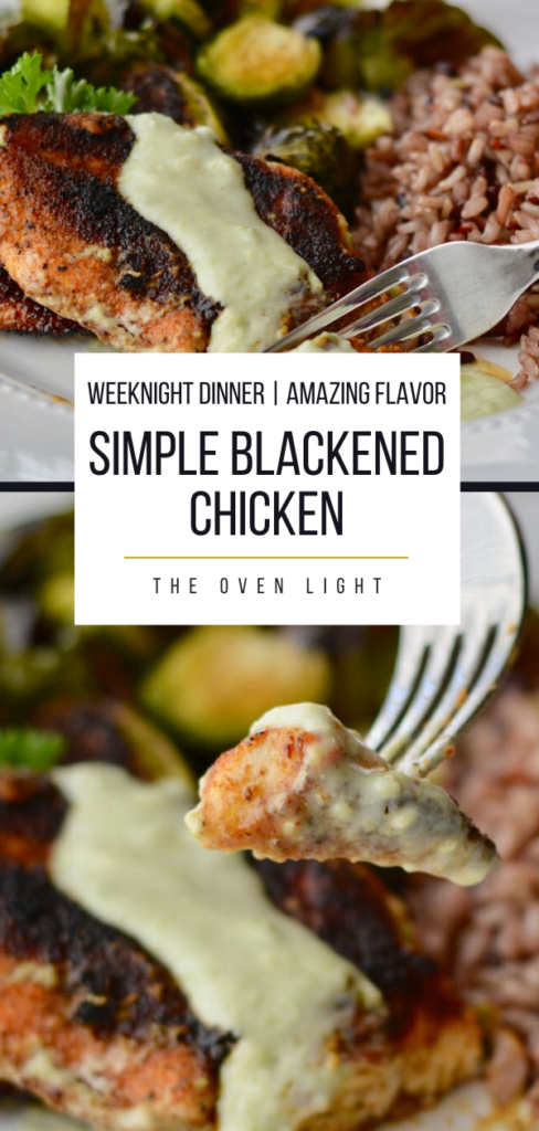 Blackened chicken with avocado crema is the the simple weeknight dinner you've been looking for! So packed with flavor and yet so simple to throw together!  #chicken #dinner #avocado #crema #weeknightmeal #weeknightdinner #familydinner #simplemeal