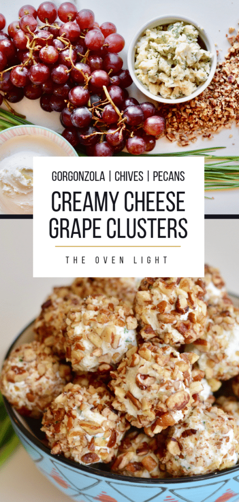 Creamy Cheese Grape Clusters Appetizer - gorgonzola, chives, pecans and cream cheese on grapes. So fresh and delicious and really unique. These are always the first to go at any party! Cheese recipes appetizer, cream cheese appetizers. #gorgonzola #chives #pecans #creamcheese #grapes #appetizer #easyappetizers