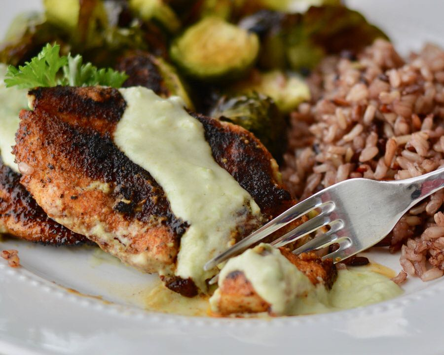 Blackened chicken with avocado crema. Healthy and delicious weeknight meal. Spice up your chicken with this simple and quick recipe!