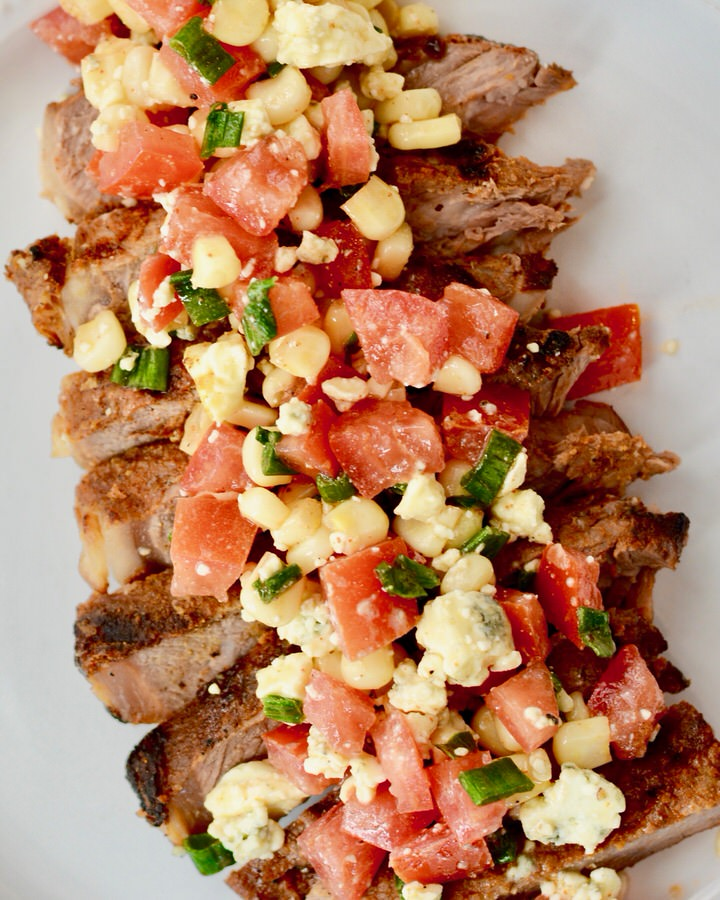 Grilled Steak with fresh Blue Cheese Salsa | Make ahead meal perfect for a weeknight meal.