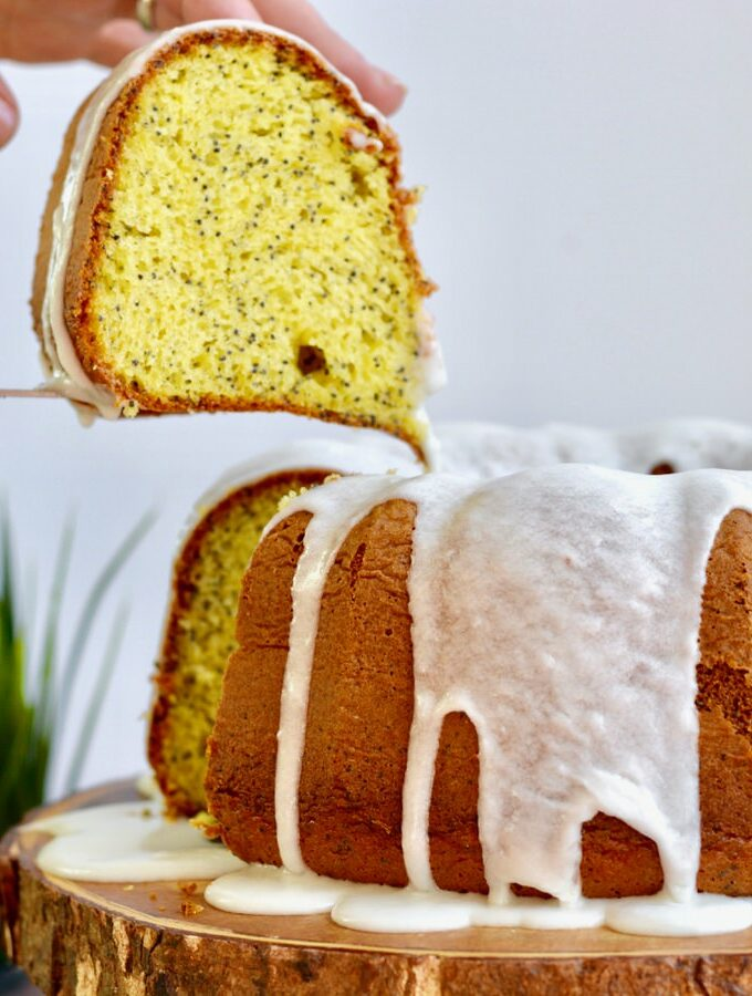 Lemon Poppy Seed Cake mix in bundt pan.