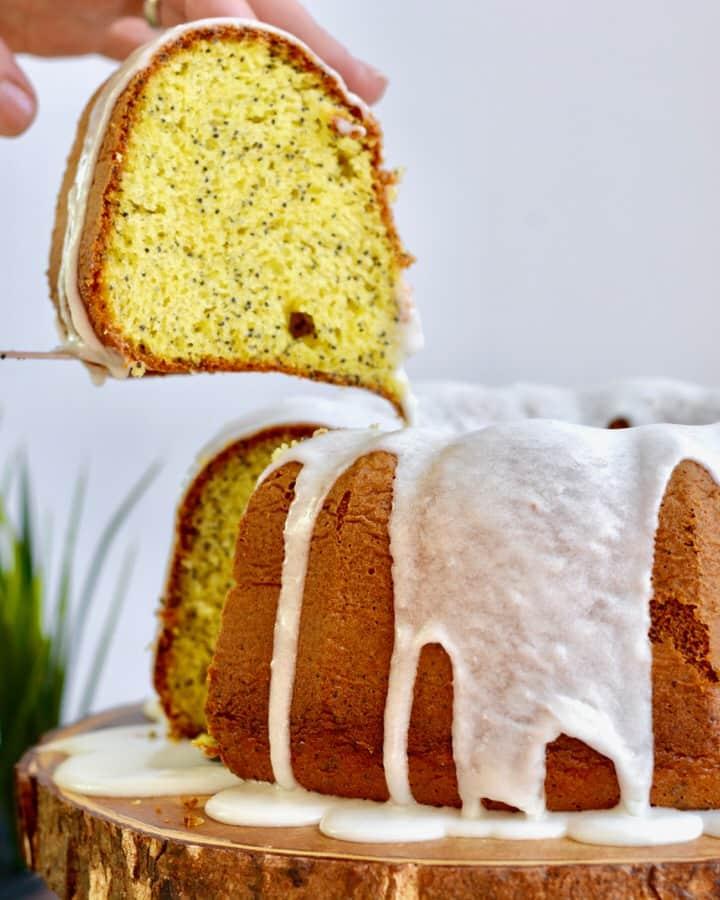 Lemon Poppy Seed Cake mix in bundt pan.