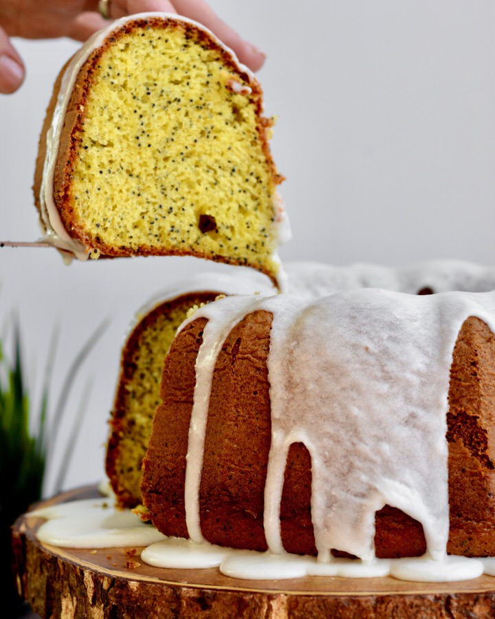 Lemon Poppy Seed Cake from a box mix, slices are so beautiful and lemon-y!