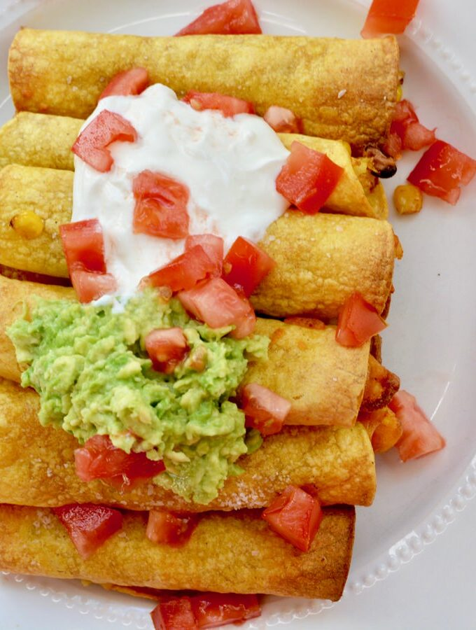 Baked Taquitos | Use leftovers for a filling and freeze for later. Amazing flavor and healthy!