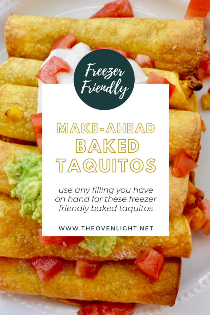 Healthy Baked Taquitos you can make ahead and freeze for later. Use any filling you have on hand. Chicken, steak, pork, veggies, beans, the possibilities are endless and oh so delicious!