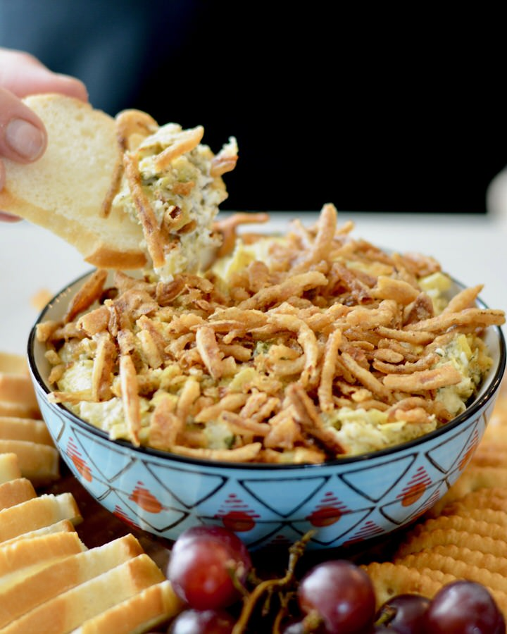 Hot artichoke dip appetizer. Perfect for every gathering! Easy and so creamy!