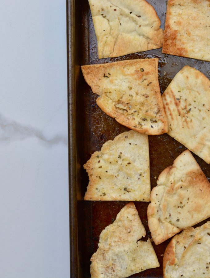 Make your own pita chips in a flash. So much better than store bough!