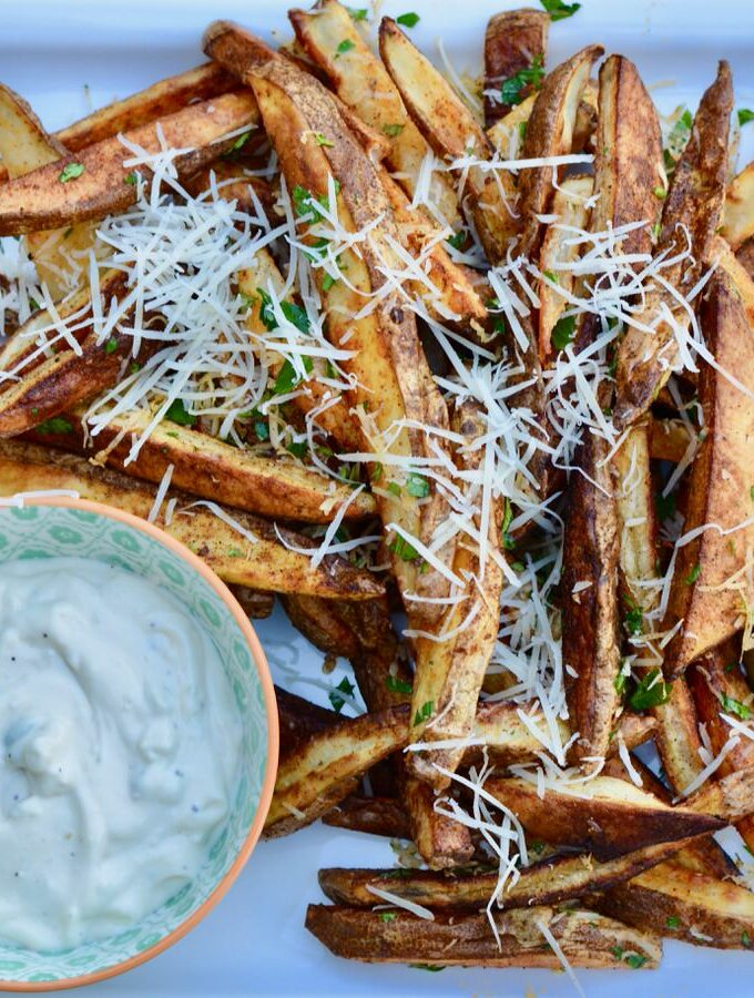 Bake your own homemade french fries. So crazy easy and so delicious! Million times better than freezer fries, and super easy!