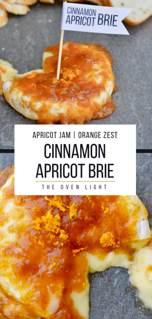 Apricot cinnamon brie cheese appetizer - crowd pleaser and super quick to prep! Creamy and sweet with a little tang, this is everyone's favorite appetizer! #briecheese #apricotpreserves #orange #cinnamon #appetizer #cheese #cheeseboard