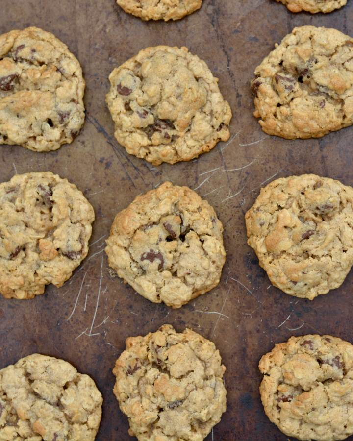 Oatmeal Chocolate Chip Cookies | Recipe with the absolute perfect texture thanks to an old fashioned ingredient.