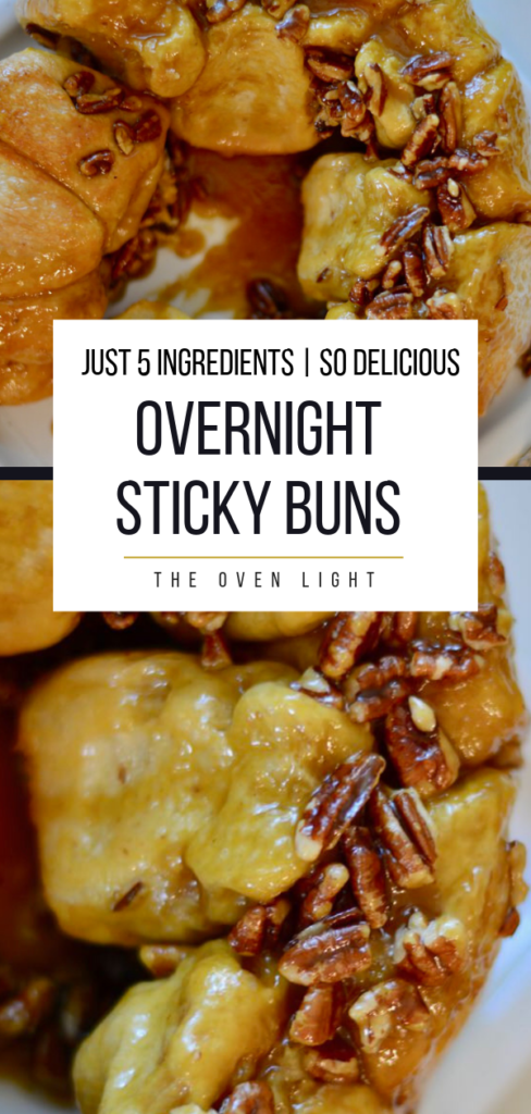 Overnight Sticky Buns with just 5 ingredients | Super simple and crazy delicious. Perfect for a special morning like Christmas. #overnight #breakfast #stickybuns #monkeybread #pecans