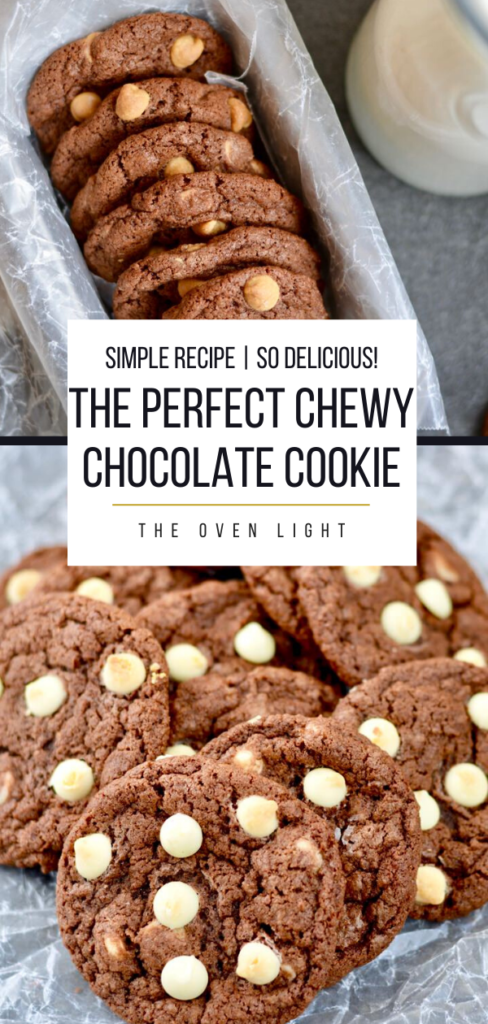 Delicious Chewy Chocolate Cookie Recipe | 3 Add-in ideas. Perfect chewy texture, and so chocolatey. Perfect to make ahead and freeze dough balls. #chocolate #chocolatechips #cookierecipe #