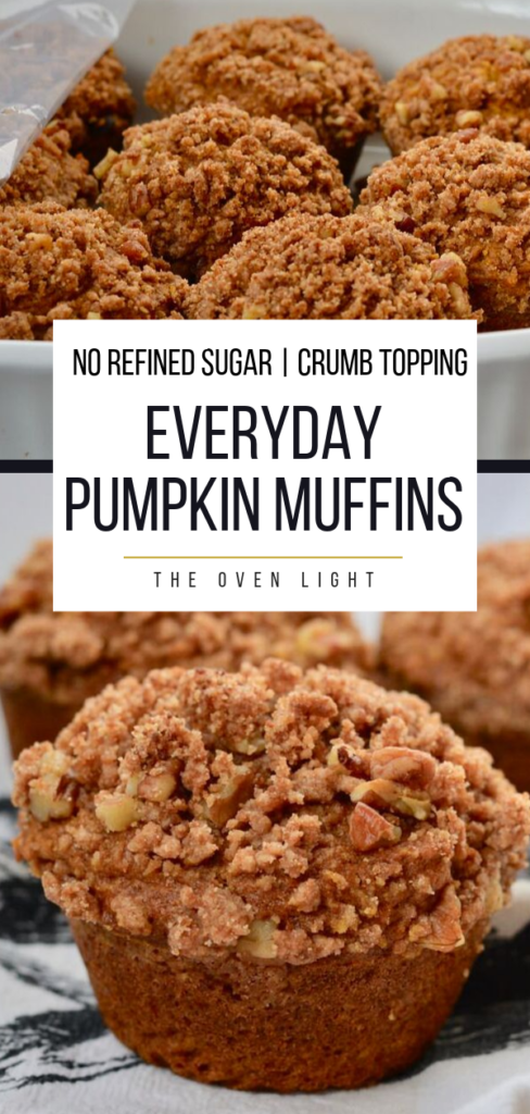 Everyday Pumpkin Muffins - No Refined Sugar.  Sweetened with maple syrup. So delicious! #pumpkin #fallrecipes #muffins #crumb #streusel #crumbtopping #pecans #coconutoil #coconutsugar