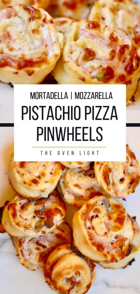 Pistachio Pizza Pinwheels - Such fun ingredients, and so delicious! #pizza #pinwheels #mortadella #mozzarella #pistachio #pizzadough #makeahead #lunch #dinner #appetizer