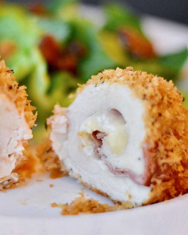 Italian Chicken Cordon Blue made with Brie cheese and Prosciutto. Simple make ahead recipe, easy enough for a weeknight dinner, special enough for entertaining. Delicious flavor!