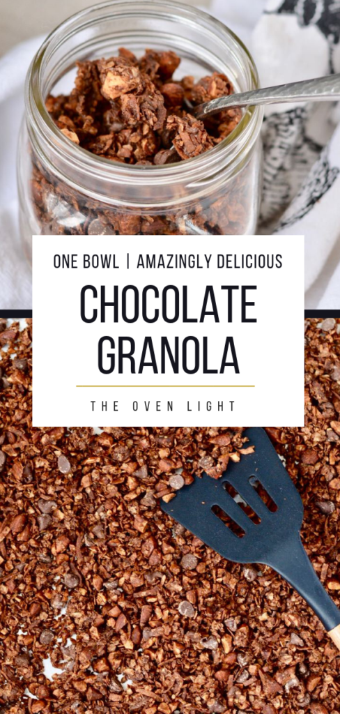 Chocolate Granola with almond, coconut and oats. Lightly sweetened with maple syrup. Perfect on top of raspberry yogurt!