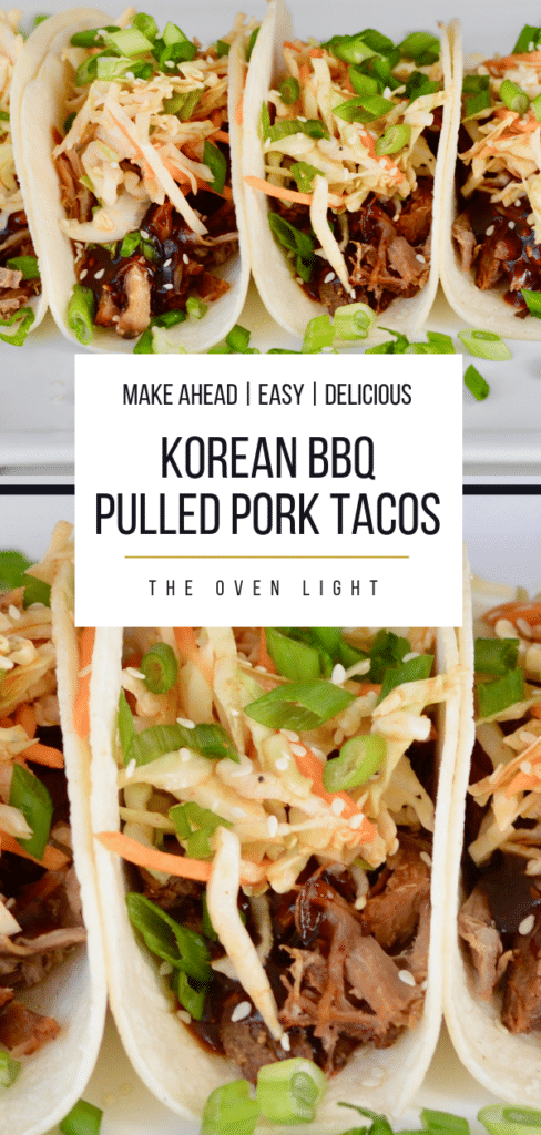 Korean BBQ Pulled Pork Tacos with Quick Kimchi and Korean BBQ Sauce - such incredible flavor, simple ingredients and all make-ahead friendly. Great for a weeknight meal or entertaining.