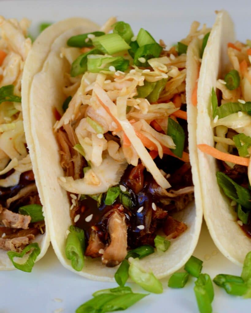 Korean BBQ Tacos with Quick Kimchi and Pulled Pork. Make Ahead Friendly!