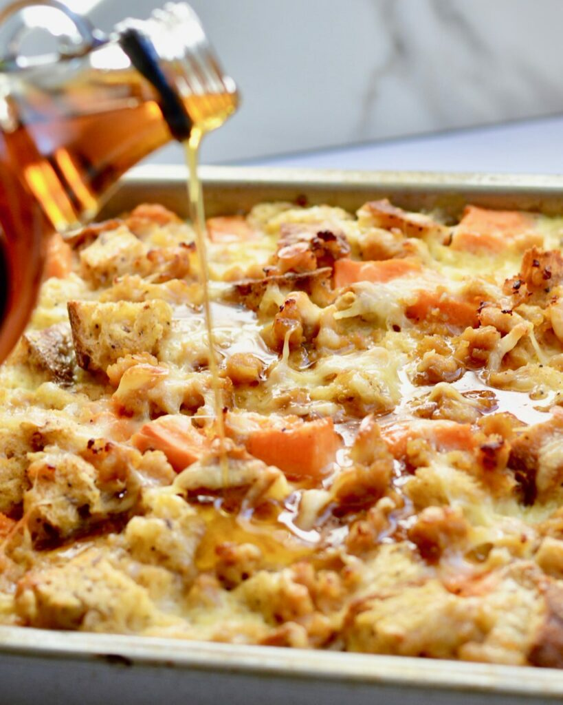 Breakfast Strata with Sweet Potatoes, chicken sausage and Multigrain Bread. Hearty and Healthy! Perfect weekend breakfast. Make ahead the night before and then just pop in the oven! #breakfast #strata #healthy #makeahead