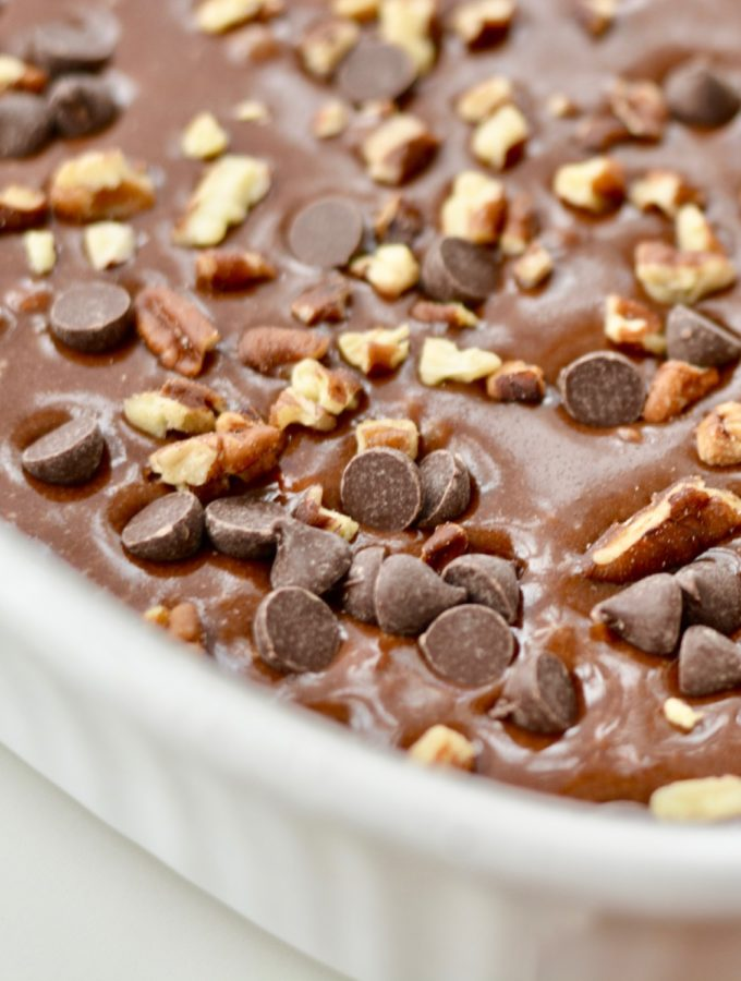Chocolate Caramel Cake with chocolate chips and pecans - rich and decadent and super easy to make! #cakemix #boxcake #chocolate #caramel #cake