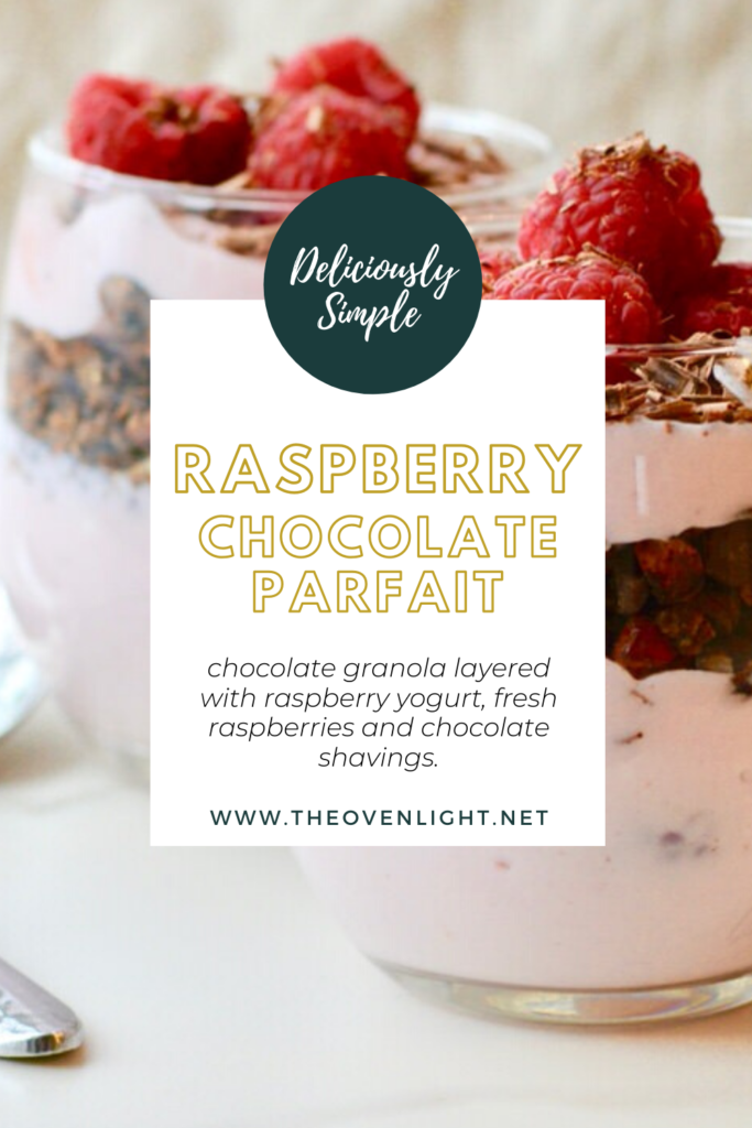 Raspberry and chocolate parfait - chocolate shavings and fresh raspberries with chocolate granola.