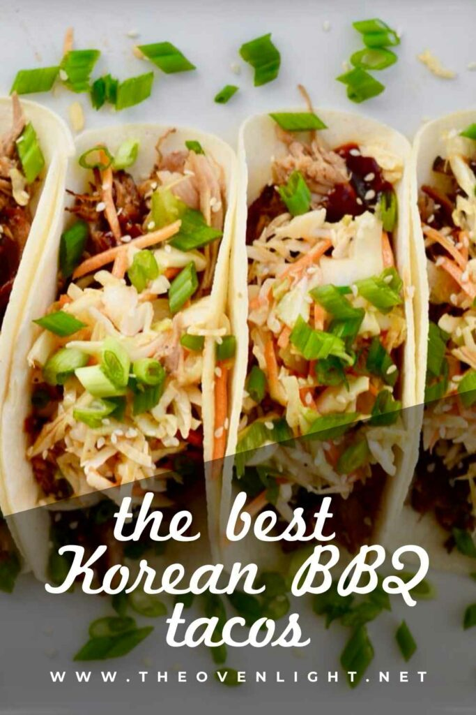 Korean BBQ Tacos with Quick Kimchi and Pulled Pork. Make Ahead Friendly! #koreanbbq #tacos #makeaheadmeals