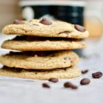 Chewy Espresso Dark Chocolate Chip Cookies. Simple recipe comes together quickly. Soft and so full of mocha espresso chocolate flavor. Large bakery style cookies with amazing texture and flavor! You'll love this recipe!