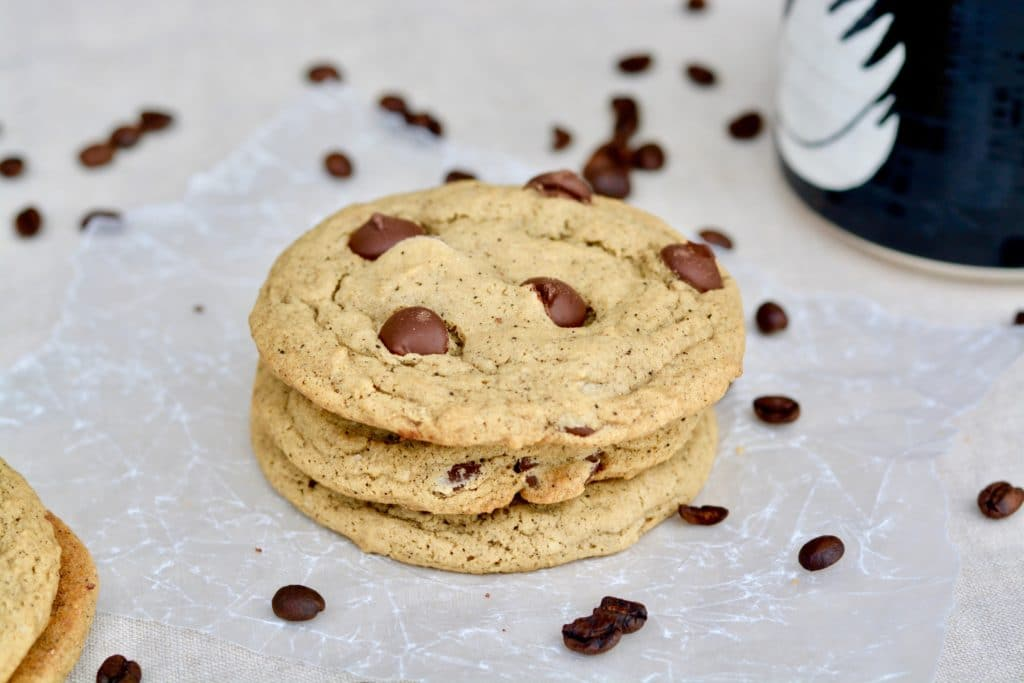 Chewy Espresso Dark Chocolate Chip Cookies. Simple recipe comes together quickly. Soft and so full of mocha espresso chocolate flavor. Large bakery style cookies with amazing texture and flavor! You love this recipe!