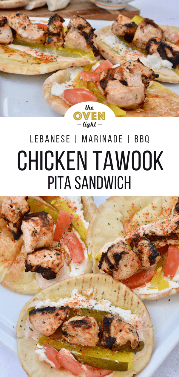 Chicken Tawook Lebanese Pita Sandwich - so delicious and make ahead friendly. Love this recipe!