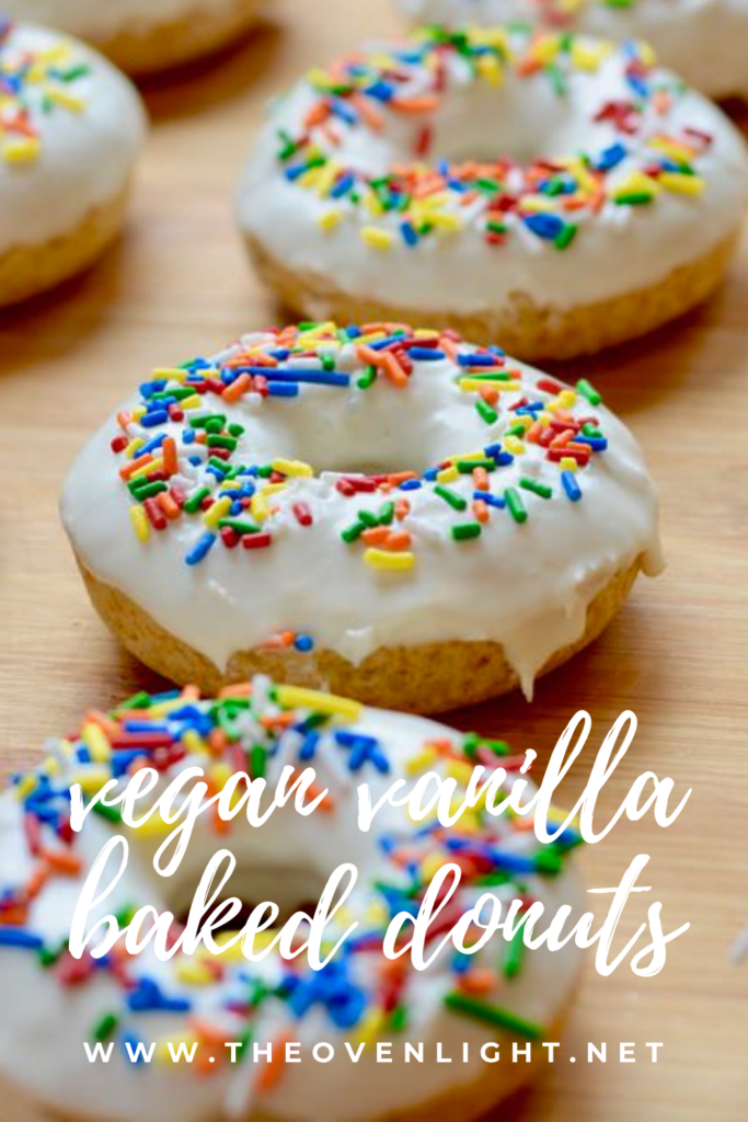 Vegan Vanilla Baked Donuts - simple recipe using warmed vanilla frosting in a can. So easy and so delicious! #vegan #donuts #bakednotfried