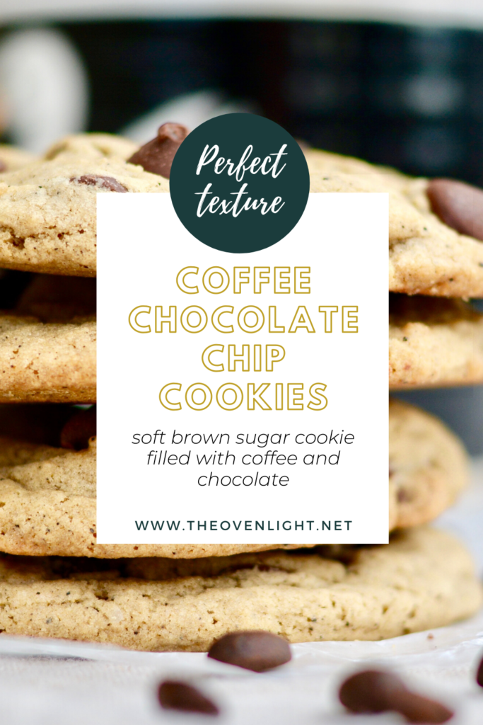 Coffee Chocolate Chip Cookies   Soft brown sugar cookie filled with espresso and dark chocolate flavor. Perfect texture and so yummy!