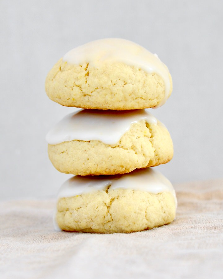 Stack of 3 Almond Lemon Cake Cookies with lemon glaze. Delicious and soft!
