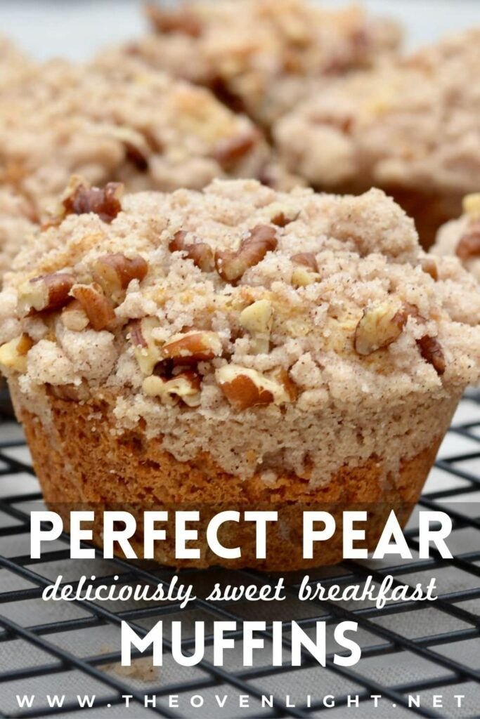 Pear muffins with pecan streudel or crumb topping. Delicious and moist recipe