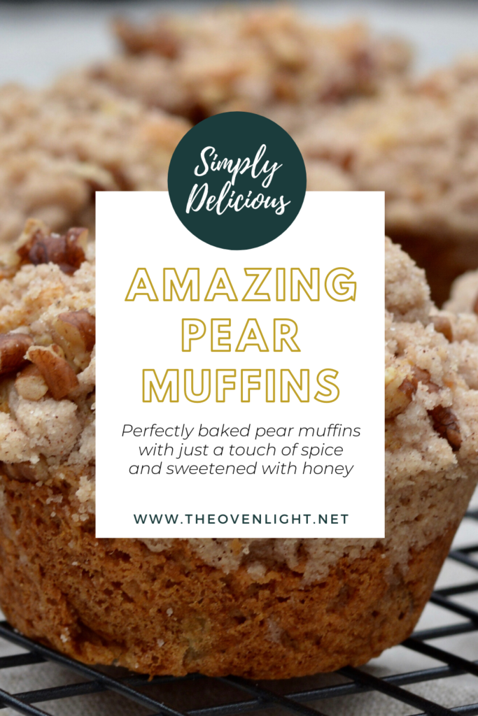 Pear muffins with pecan streudel or crumb topping. Delicious and moist recipe. #pearmuffin #muffinrecipe