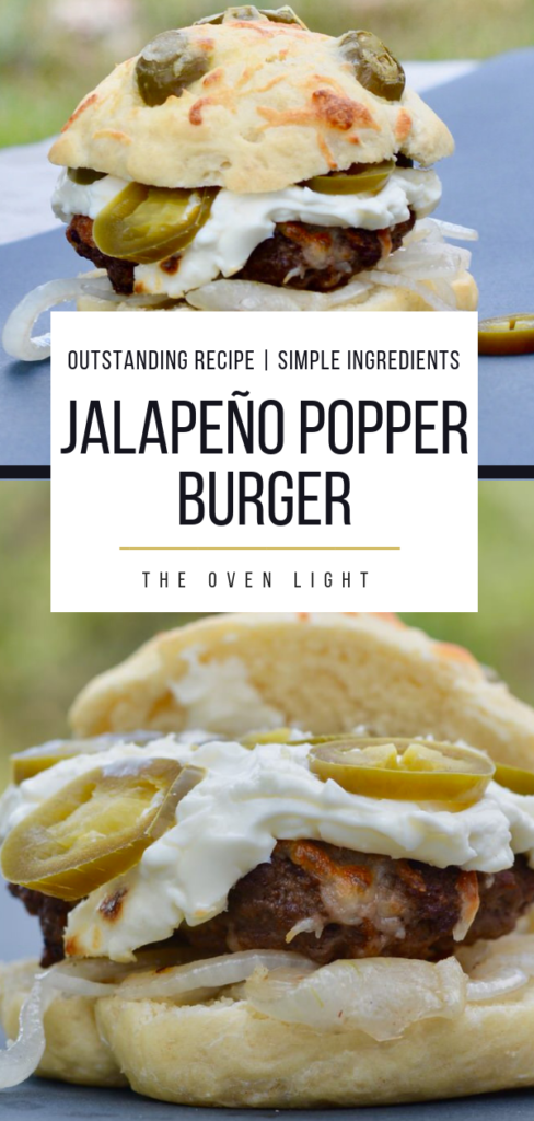 Jalapenño Popper Hamburger - cream cheese, mozzarella, onions and jalapeños. So easy and seriously so delicious! I've never had a burger so simple taste so amazing! Recipes with jalapeños, easy jalapeño recipes. #hamburger #jalapeños #creamcheese #jalapeñopopper #burgerrecipe #grillingrecipe #burger #theovenlight