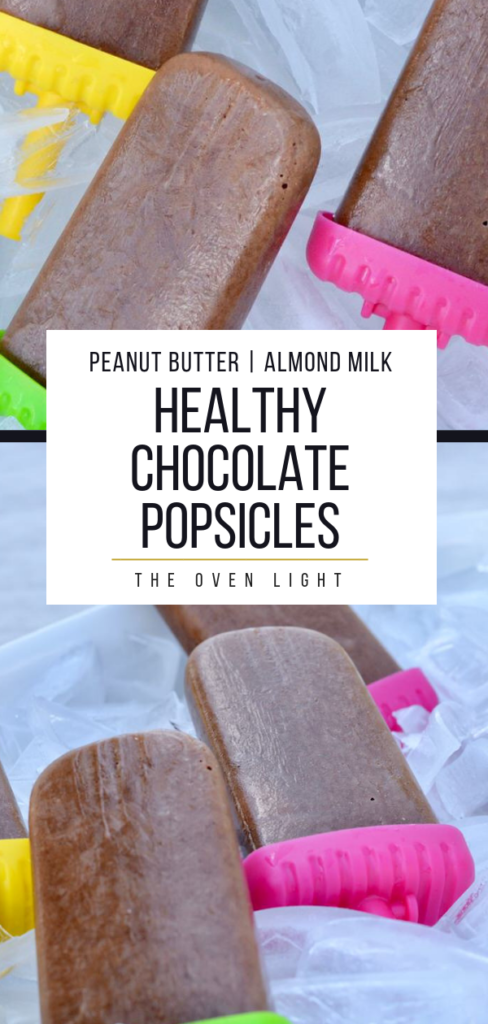Healthy Chocolate Popsicle Recipe - perfect for hot summer days with the kids outside. 4 simple ingredients makes for delicious flavor and a healthy snack! #popsicles #healthypopsicles @chocolatepopsicles #fudgsicles #peanutbutter #almondmilk