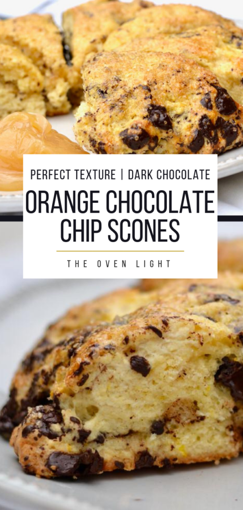 Orange Chocolate Chunk Scones | Delicious, perfect scone texture with chunks of dark chocolate. Best scone recipe, simple scones recipe. #scones #chocolatechip #orange #breakfast #dessert #sconerecipe