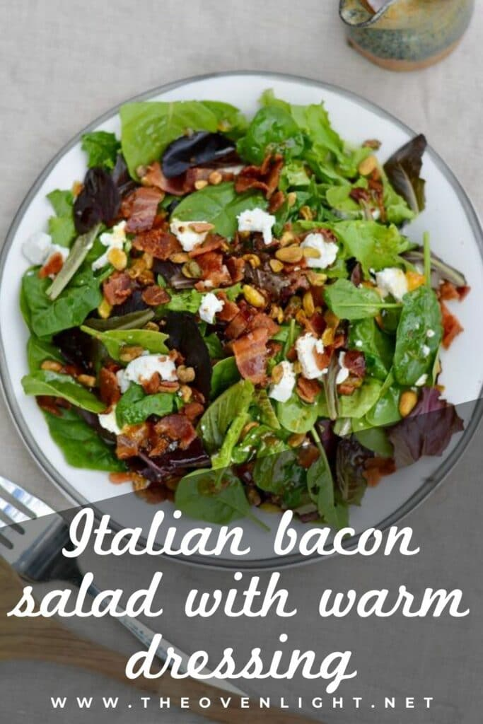 Italian Bacon Salad with warm homemade apricot dressing. Goat cheese, pistachios, bacon and spring mix salad. #salad #bacon #apricot #pistachio #goatcheese