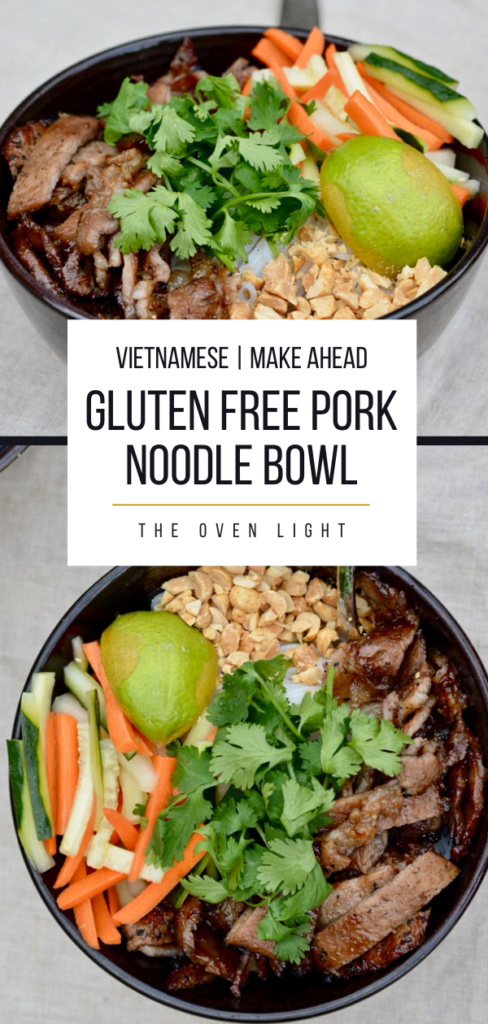 Gluten Free Pork Noodle Bowls | SO crazy good and easy to make ahead. Perfect for a weeknight meal. Pickled carrots and cucumber, cilantro and peanuts make this dish outstanding. Rice noodle recipes. Healthy bowls recipes. #vietnamese #glutenfree #pork #cilantro #ricenoodles #weeknightmeal #makeahead #dinner