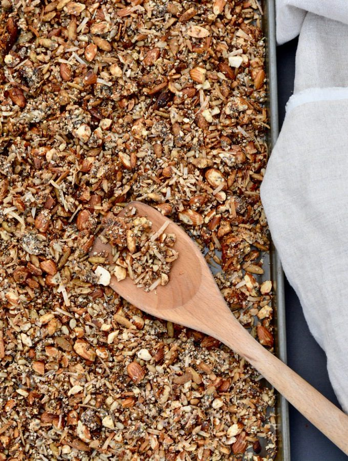 Healthy Grain Free Granola packed with protein. Almonds, chia, hemp, all sweetened with a touch of honey.